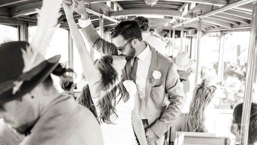 Wedding Photo on a Tram