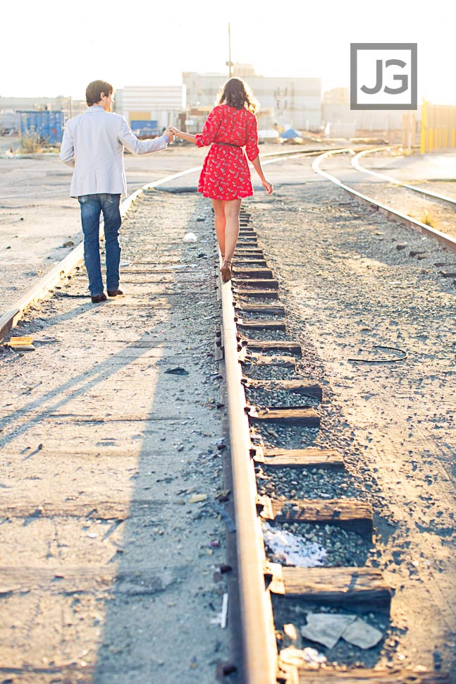 Los Angeles Engagement Photo on Railroad Tracks